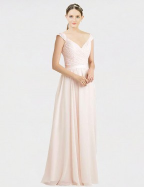 Long Chiffon & Lace Floor Length Cream Pink A-Line Arely Bridesmaid Dress Hobart