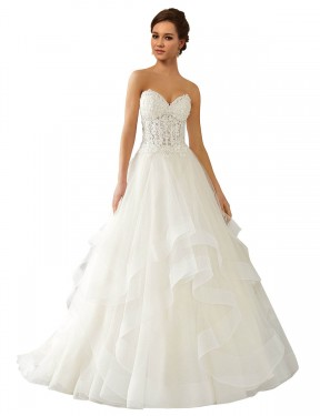 Long Lace & Satin & Tulle Chapel Train Ivory Ball Gown Reese Wedding Dress Hobart