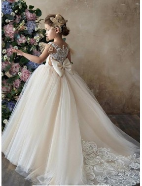 Shop Long Lace & Tulle Chapel Train Champagne Ball Gown Flower Girl Dress Hobart
