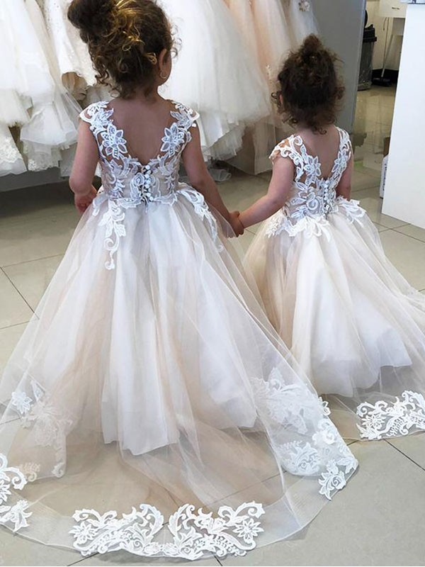 Shop Long Lace & Tulle Chapel Train Ivory Ball Gown Flower Girl Dress Hobart