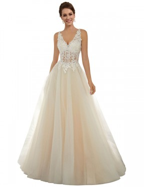 Long Lace & Tulle Chapel Train Ivory & Champagne A-Line Amy Wedding Dress Hobart