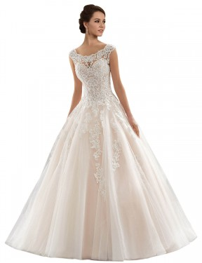 Long Lace & Tulle Chapel Train Ivory & Champagne Ball Gown Laila Wedding Dress Hobart