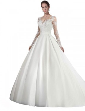 Long Satin & Lace Cathedral Train White A-Line Stephanie Wedding Dress Hobart
