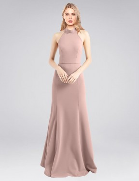 Long Stretch Crepe Floor Length Dusty Pink A-Line Glover Bridesmaid Dress Hobart