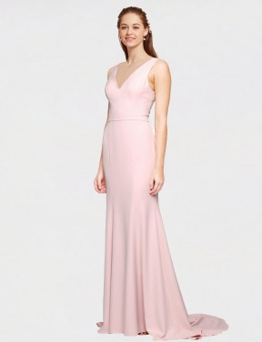 Long Stretch Crepe Sweep Train Floor Length Pink A-Line Polly Bridesmaid Dress Hobart