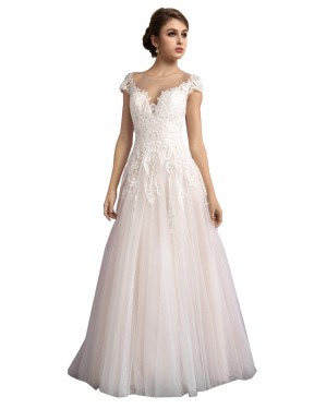 Long Tulle Cathedral Train Ivory & Champagne A-Line Mariana Wedding Dress Hobart