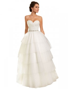 Shop Long Tulle Chapel Train Ivory Ball Gown Molly Wedding Dress Hobart