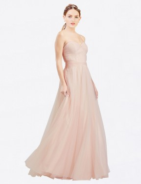 Long Tulle Floor Length Pink A-Line Layla Bridesmaid Dress Hobart
