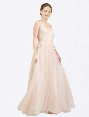Long Tulle Floor Length Pink A-Line Lily Bridesmaid Dress Hobart