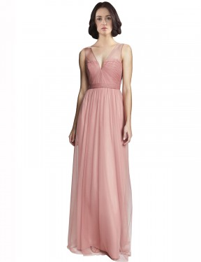 Long Tulle Floor Length Rose Pink A-Line Rayna Bridesmaid Dress Hobart