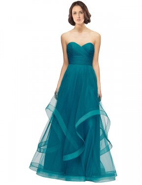 Long Tulle Floor Length Turquoise A-Line Lacey Bridesmaid Dress Hobart
