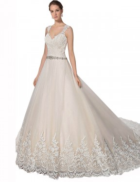 Long Tulle & Lace Chapel Train Ivory & Champagne A-Line Ember Wedding Dress Hobart